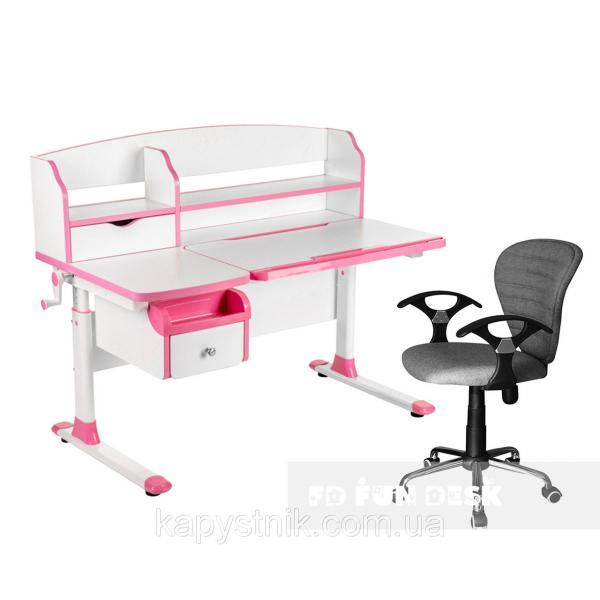 Комплект парта для подростка Sognare Pink + детское компьютерное кресло LST7 Grey FunDesk
