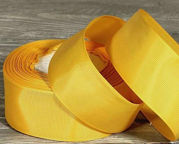 Лента  репсовая  4 см.   цвет  Жёлтый  яркий.