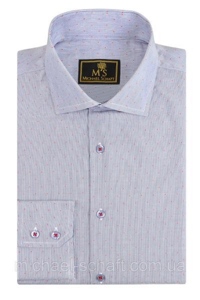 Рубашка мужская Michael Schaft Серая с контрастным принтом Slim Fit