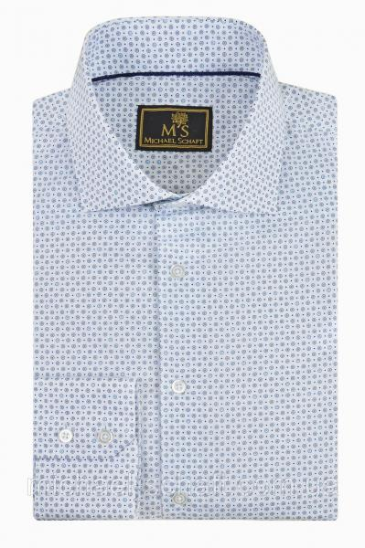 Рубашка мужская Michael Schaft Белая с цветным принтом Slim Fit