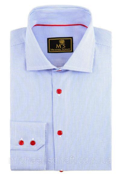 Рубашка мужская Michael Schaft с мелкой голубой фактурной полосой и контрастными пуговицами Slim Fit