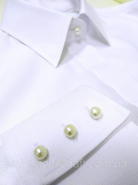 Рубашка женская Michael Schaft Белая классическая с жемчужинами L