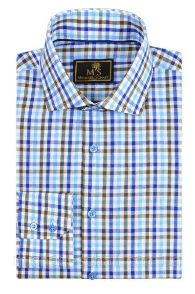 """Рубашка мужская Michael Schaft с узором """"клетка"""" голубая/коричневая/синяя Slim Fit"""