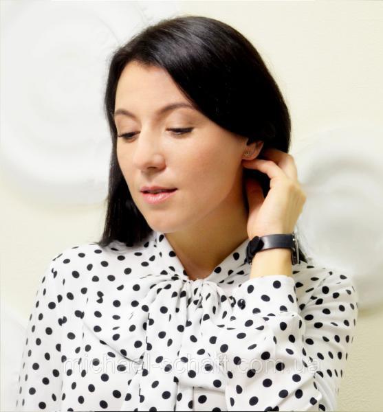 """Блуза женская Michael Schaft с бантом и принтом """"горох"""" L"""
