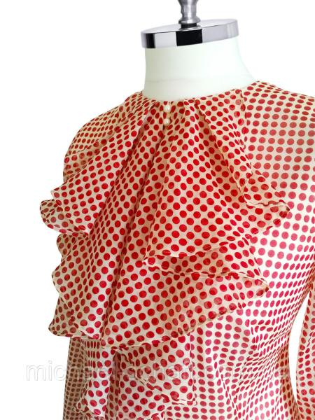 Фото Женские рубашки и блузы Блуза женская Michael Schaft Красная с жабо и принтом