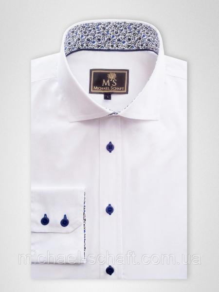Рубашка мужская Michael Schaft Белая с контрастными вставками Slim Fit