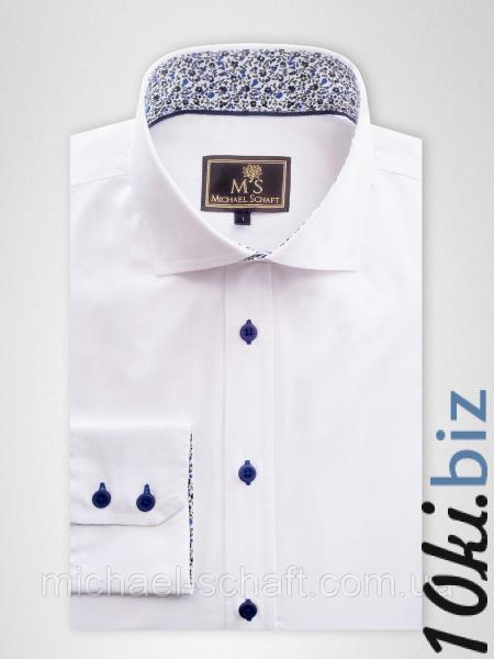 Рубашка мужская Michael Schaft Белая с контрастными вставками Slim Fit, цена фото купить в Киеве. Раздел Мужские рубашки