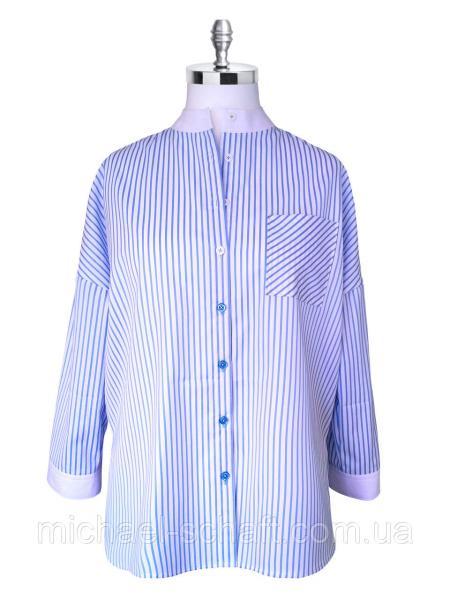 Рубашка женская Michael Schaft oversize белая в голубую полоску L