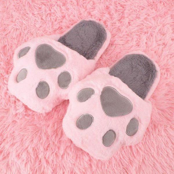 """Тапочки домашние женские """"Кошачьи лапки"""" розовые размер 34-39"""