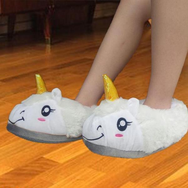 """Тапочки домашние женские """"Единорог"""" белые размер 35-40"""
