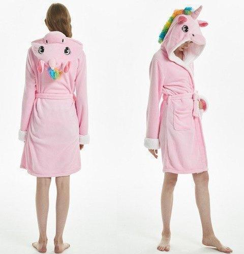 """Женский халат махровый банный """"Единорог"""" розовый размер M, L"""
