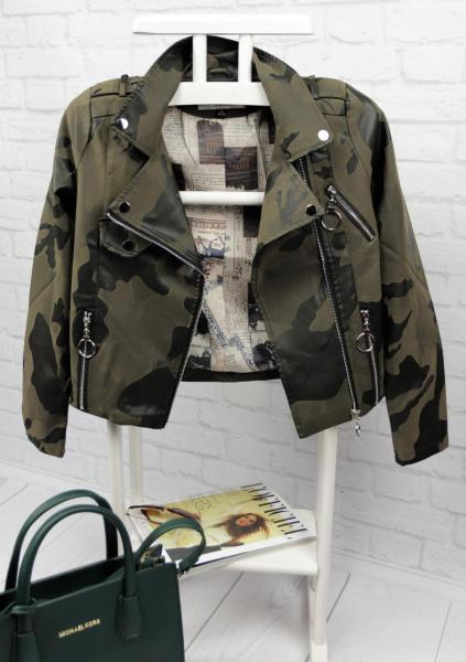 Стильная кожаная куртка миллитари.