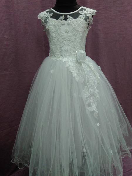 Платье детское нарядное белое на 7-10 лет