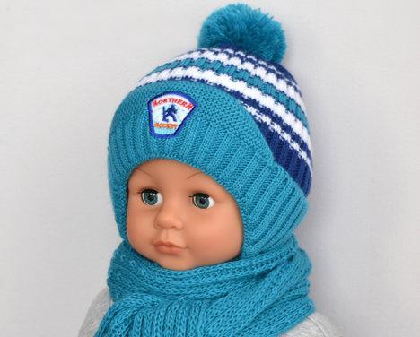 ЗИМНЯЯ шапка ХОККЕЙ мальчику 1-2,5 года на меху