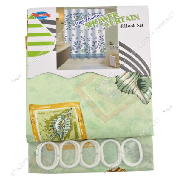 Штора для ванны Атлас атласная ткань 170х180см зеленая