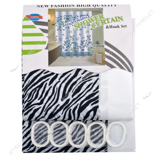 Штора для ванны Атлас атласная ткань 170х180см черная с белым