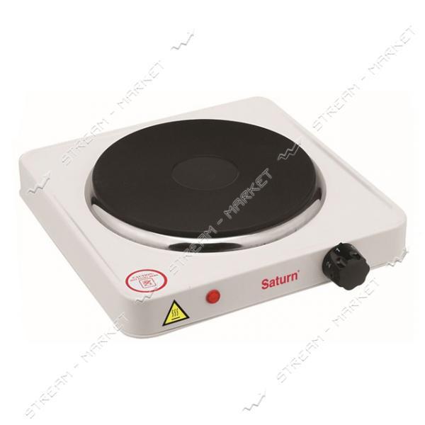 Saturn электроплитка ST-EC0180 1500 Вт, 1 чугунный блин, термостат, индикатор работы, цвет белый