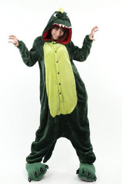 "Кигуруми (пижама-комбинезон) ""Крокодил"" зеленая размер S, M, L, XL"