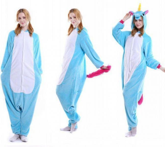 """Кигуруми (пижама-комбинезон) """"Единорог"""" голубая с белым размер S, M, L, XL"""
