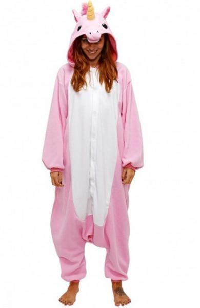 "Кигуруми (пижама-комбинезон) ""Единорог"" розовая с белым размер S, M, L, XL"