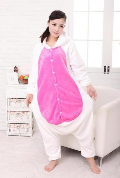 "Кигуруми (пижама-комбинезон) ""Единорог"" белая с розовым размер S, M, L, XL"