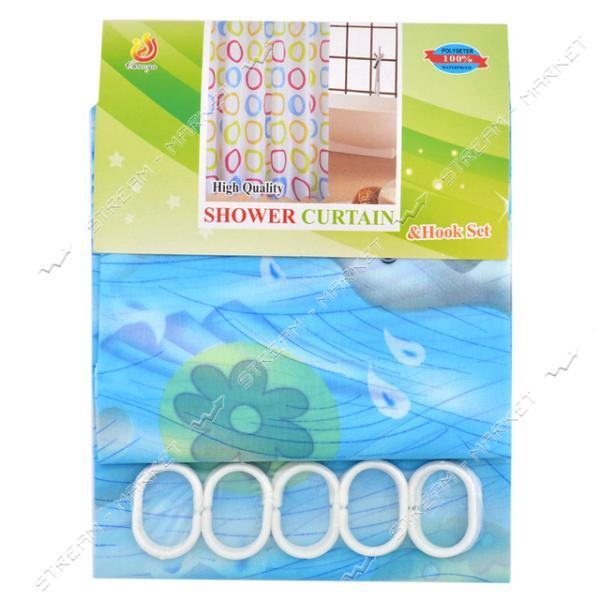 Штора для ванны зонтичная ткань голубая 180х170см