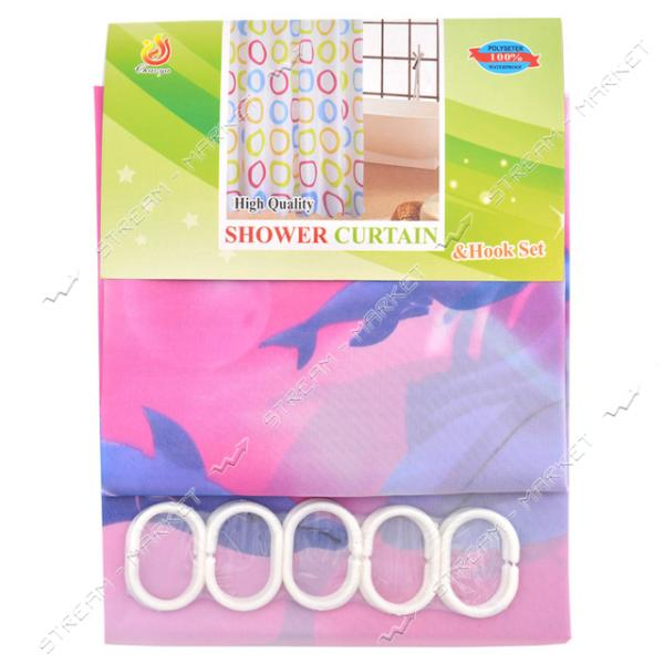 Штора для ванны зонтичная ткань розовая 180х170см