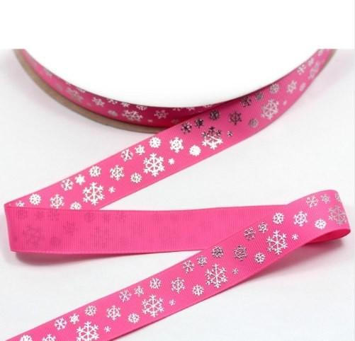 Фото Ленты, Репсовая  и  тканевая  лента  VIP класса. Репсовая лента ,плотная  с глитерным рисунком снежинки,цвет ярко-розовый 22мм