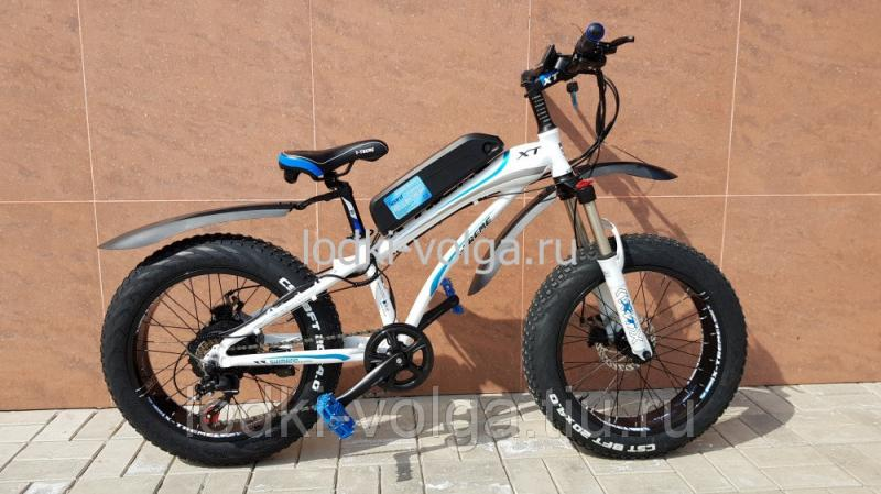 Электровелосипед FATBIKE 20AL (бело/синий) 7 скоростей, 500W 48V 11.6AH
