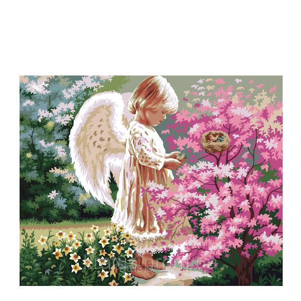 "KH 1048  ""Ангелочек и птички 2"" Картина по номерам на холсте 40х50см"