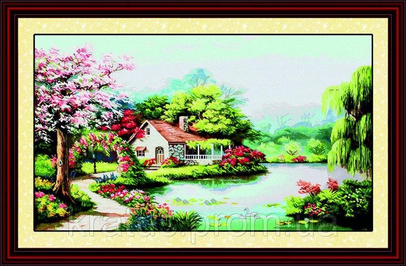 "F 058 ""Весенний сад"" Набор для вышивания крестом 118х72 см"