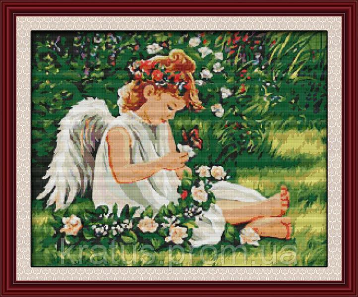 """R 215 """"Ангелочек в цветах"""" Набор для вышивания крестом 59х50 см"""