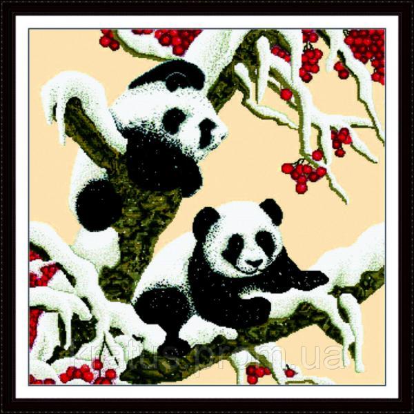 """D 028 """"Снежные панды"""" Набор для вышивания крестом 65х65 см"""
