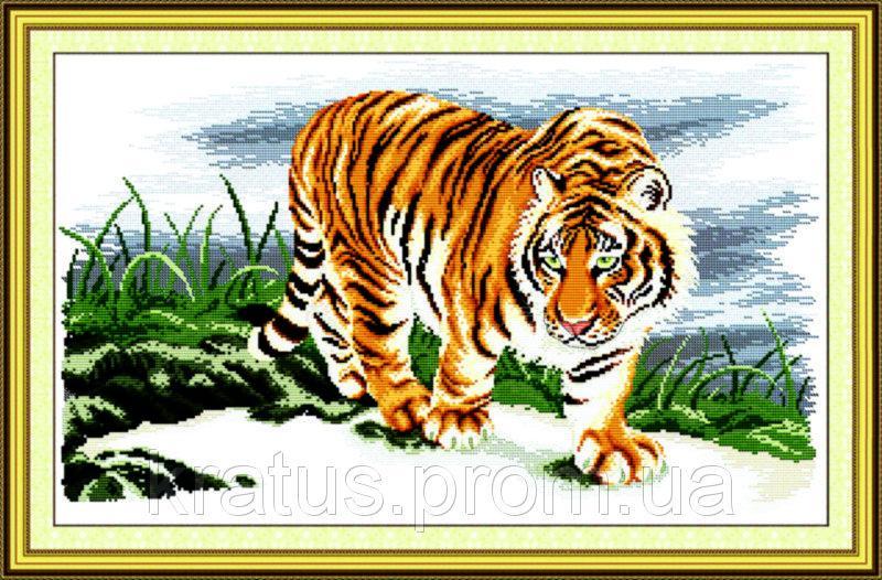 """D 037 """"Гордый тигр"""" Набор для вышивания крестом 61х40 см"""