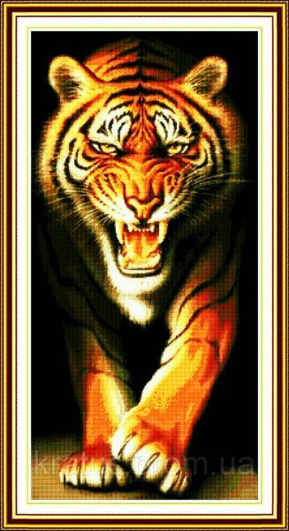 """D 076 """"Грозный тигр"""" Набор для вышивания крестом 46х87 см"""