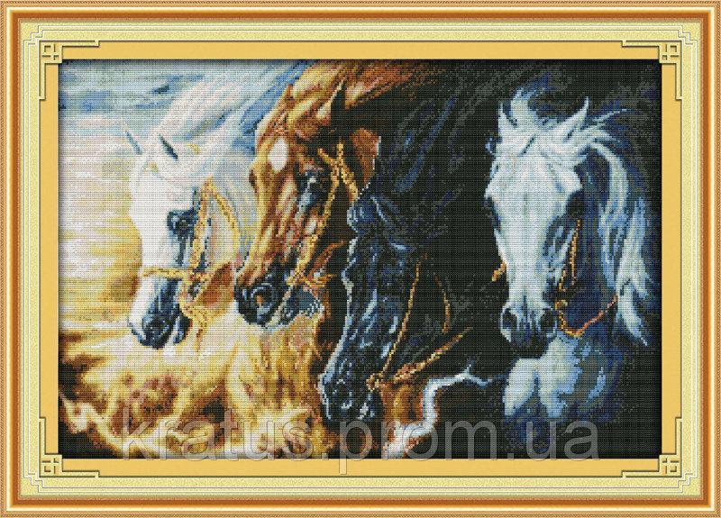 """D 140 """"Непокорные кони"""" Набор для вышивания крестом 63х44 см"""