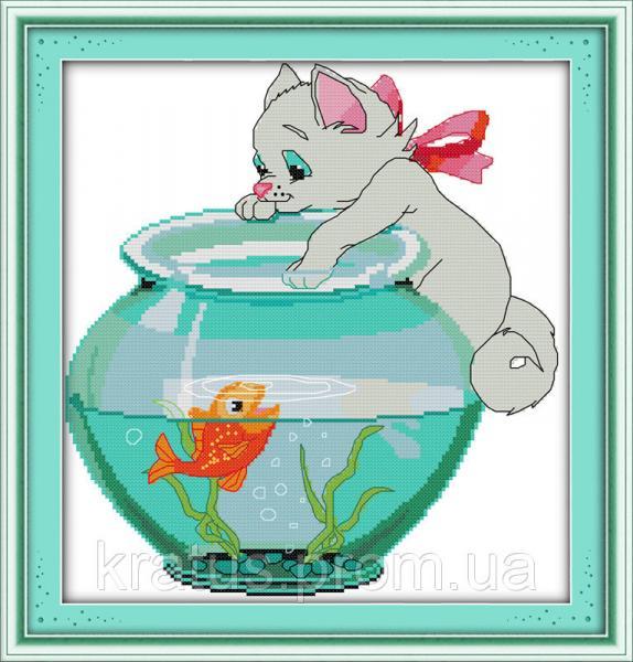 """D 193 """"Котик и рыбка"""" Набор для вышивания крестом 35х36 см"""