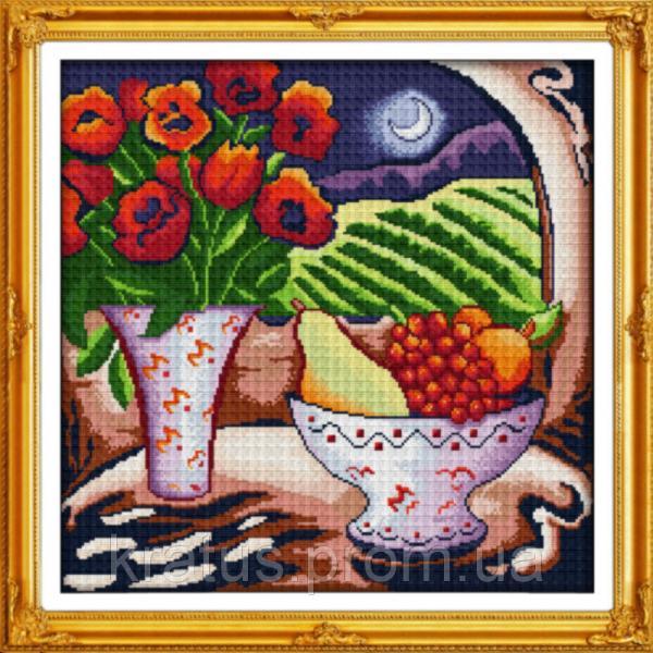 """J 049 """"Цветы и фрукты"""" Набор для вышивания крестом 46х46 см"""
