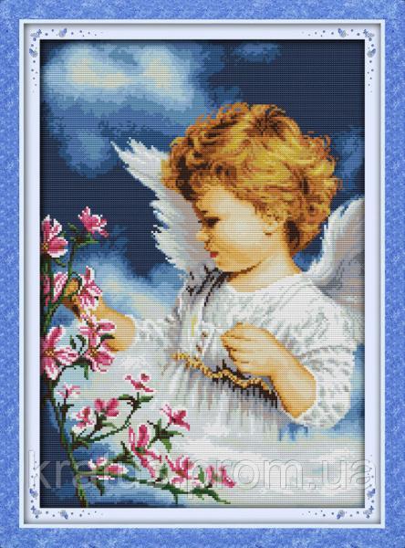"""R 265 (2) """"Ангел и цветы"""" Набор для вышивания крестом 46х64 см"""