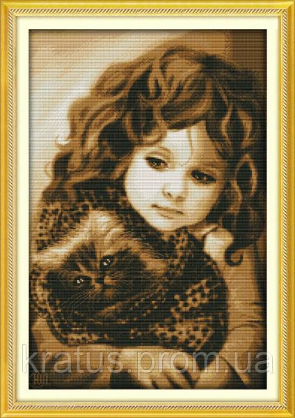 """R 321 """"Девочка с котом"""" Набор для вышивания крестом 46х66 см"""