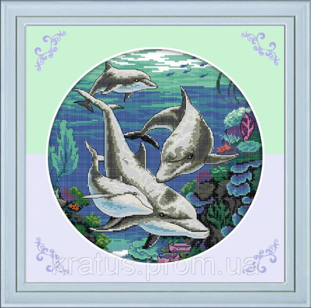 """D 138 """"Дельфины"""" Набор для вышивания крестом 45х45 см"""