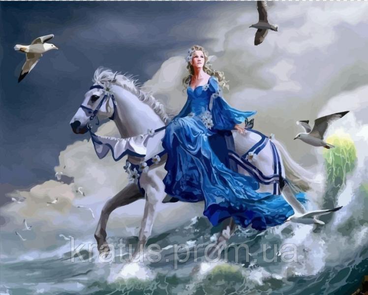 """VP 125 """"Девушка на лошади"""" Картина по номерам 40х50см"""