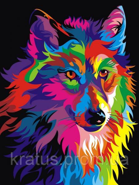 """VK 004 """"Радужный волк"""" Роспись по номерам на холсте 40x30см"""
