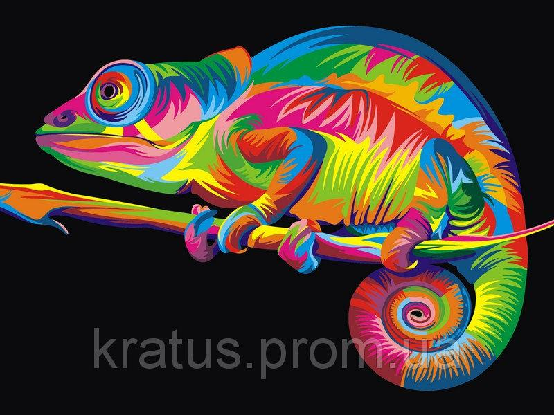 """VK 005 """"Радужный хамелеон"""" Роспись по номерам на холсте 40x30см"""
