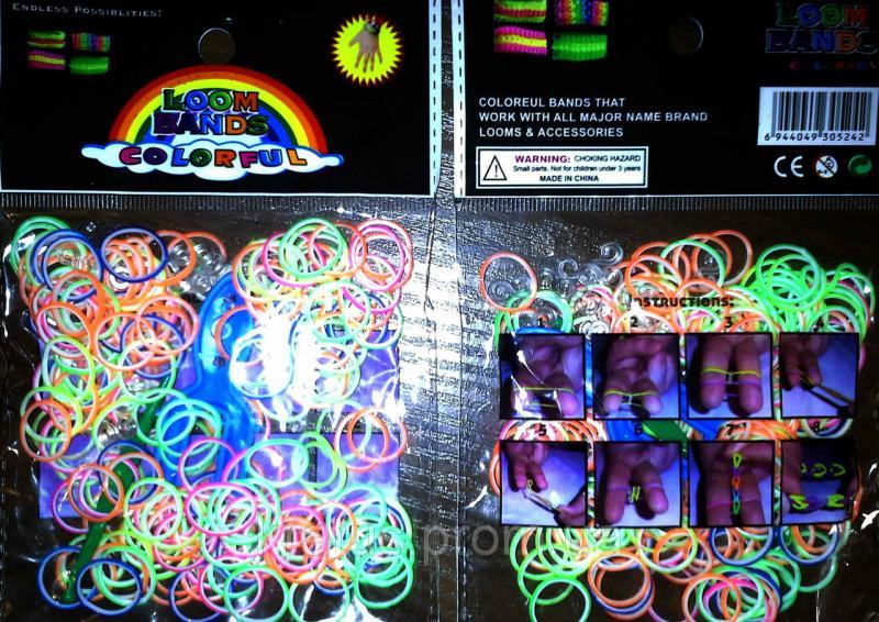 """Резинки в пакете """"двухцветные ассорти"""" 200шт."""