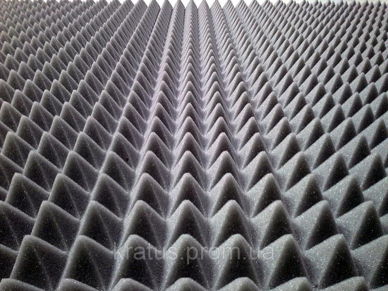 Фото Поролон, синтепон, синтепух (холлофайбер), Акустический  поролон Акустический поролон «пирамида» лист 1х2м толщина 40мм серый