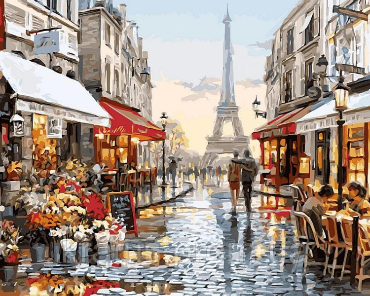 "VPS 443 ""Париж после дождя"" Роспись по номерам на холсте 50х65см"