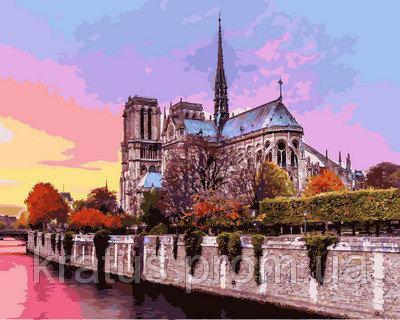 "VP 939 ""Рассвет над Собором Парижской Богоматери"""" Картина по номерам на холсте 40х50см"