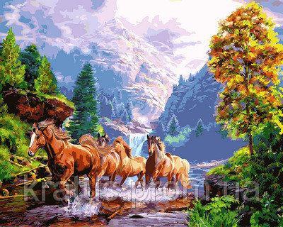 """NB 924 """"Лошади на берегу горного озера""""  Babylon Premium 40x50см"""