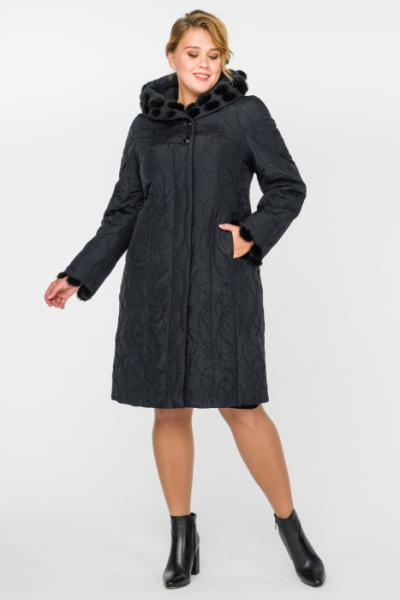 Зимнее пальто с мехом норки